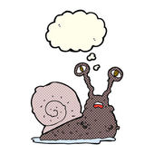 Cartoon gross snail with thought bubble — Stock Vector
