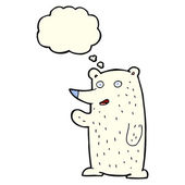 Cartoon waving polar bear with thought bubble — Stock Vector