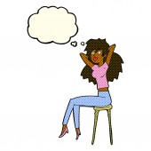 Cartoon woman posing on stool with thought bubble — Stock Vector