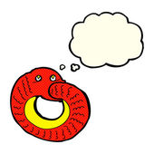 Cartoon snake eating own tail with thought bubble — Stock Vector