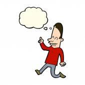 Gelukkig man cartoon wijzen met gedachte bubble — Stockvector