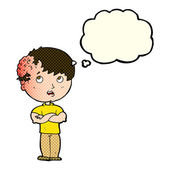 Cartoon boy with growth on head with thought bubble — Stock Vector