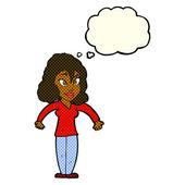 思ったのバブルと肩をすくめ漫画女性 — ストックベクタ