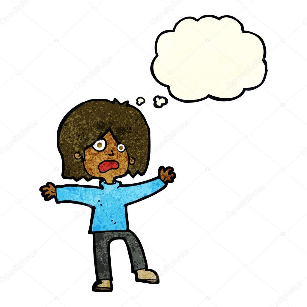 卡通害怕的人与思想泡泡 — 图库矢量图片#82372040