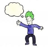 Kreslený šťastný upíří muž s myšlenka bublina — Stock vektor