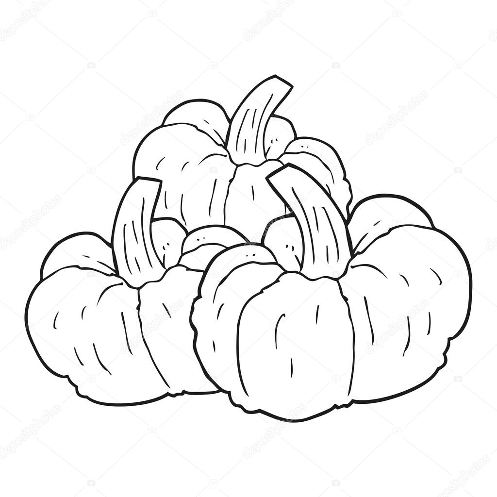 Black And White Pumpkin Cartoon Illustration Stock ... |Cartoon Black And White Pumkin