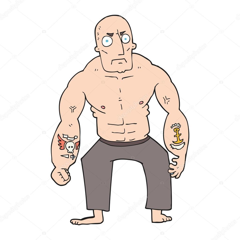 homme dur caricature dessine main leve vector by lineartestpilot