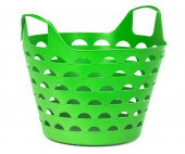 Green color plastic basket for supermarket shopping or laundry  — Stock Photo