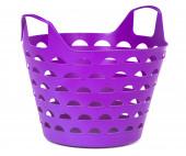 Cesta plástica color púrpura para compras de supermercado o de lavandería — Foto de Stock
