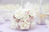 Beautiful wedding bouquet on table — Stock Photo