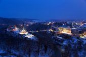 Night view of Veliko Tarnovo, the former capital of Bulgaria and — Stock Photo
