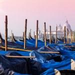 Venice in morning fog with gondolas in Italy — Stock Photo #75713725