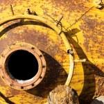 Opened rusty manhole on fuel tank — Stock Photo #76688533
