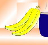 Bananas and blue Cup — Stock Vector
