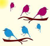 Bird in the tree illustration — Stock Vector