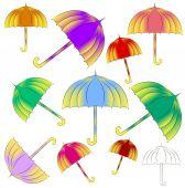Brightly colored umbrellas — Stock Photo