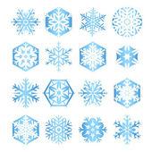 Coleção de 16 flocos de neve azuis sobre fundo branco — Vettoriale Stock