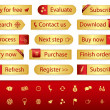Gold web buttons with different bookmarks and icons — Stock Vector #56237069