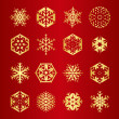 Collection of 16 golden snowflakes — Stock Vector #56238287