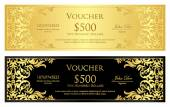 Luxury golden and black voucher with vintage ornament — Vetor de Stock