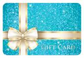 Turquoise shiny gift card composed from glitters — Stock Vector