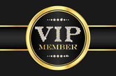 VIP member badge on black card. VIP composed from small diamonds — Stock Vector