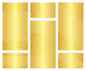 Set of golden leaflet and business card templates. — Vecteur