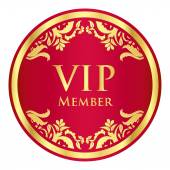 Red VIP member badge with golden vintage pattern — Stock Vector