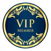 Blue VIP member badge with golden vintage pattern — Stock Vector