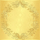 Luxury golden background with vintage floral pattern — Stock Vector