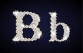"Letter ""B"" composed from diamonds with golden frame. Complete alphabet set. — Wektor stockowy"
