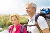 Mature Couple Hiking Together — Stock Photo
