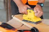 Closeup Carpenter Sanding Wood — Stock Photo