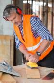 Carpenter Smoothing Plank — Stock Photo