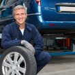 Tyre Dealer Holding A Tire — Stock Photo #57385319