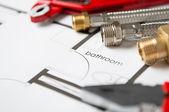 Plumbing Equipment On House Plans — Stock Photo