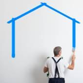 Painter Painting House Shape — Stock Photo