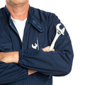 Mechanic With Spanner — Stock Photo