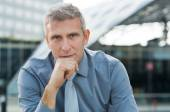 Contemplated Businessman Outdoor — Stock Photo
