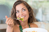 Happy Girl At Lunch — Stock Photo