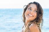 Happy woman at beach — Stock Photo