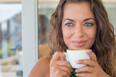 Thinking Girl At Cafe — Stock Photo