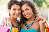 Happy Girls After Shopping — Stock Photo