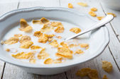Breakfast with milk and cereal — Stock Photo