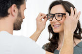 Woman at the ophthalmologist checking — Stock Photo