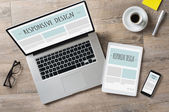 Responsive design and web devices — Stock Photo