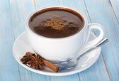 Hot chocolate with cinnamon and anise — Stock Photo
