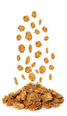 Flakes, Breakfast Cereal isolated on white background — Stock Photo