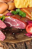 Variety of sausage products. Background. — Stock Photo