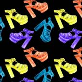 Vector seamless pattern with  female fashion and colorful  shoes — 图库矢量图片